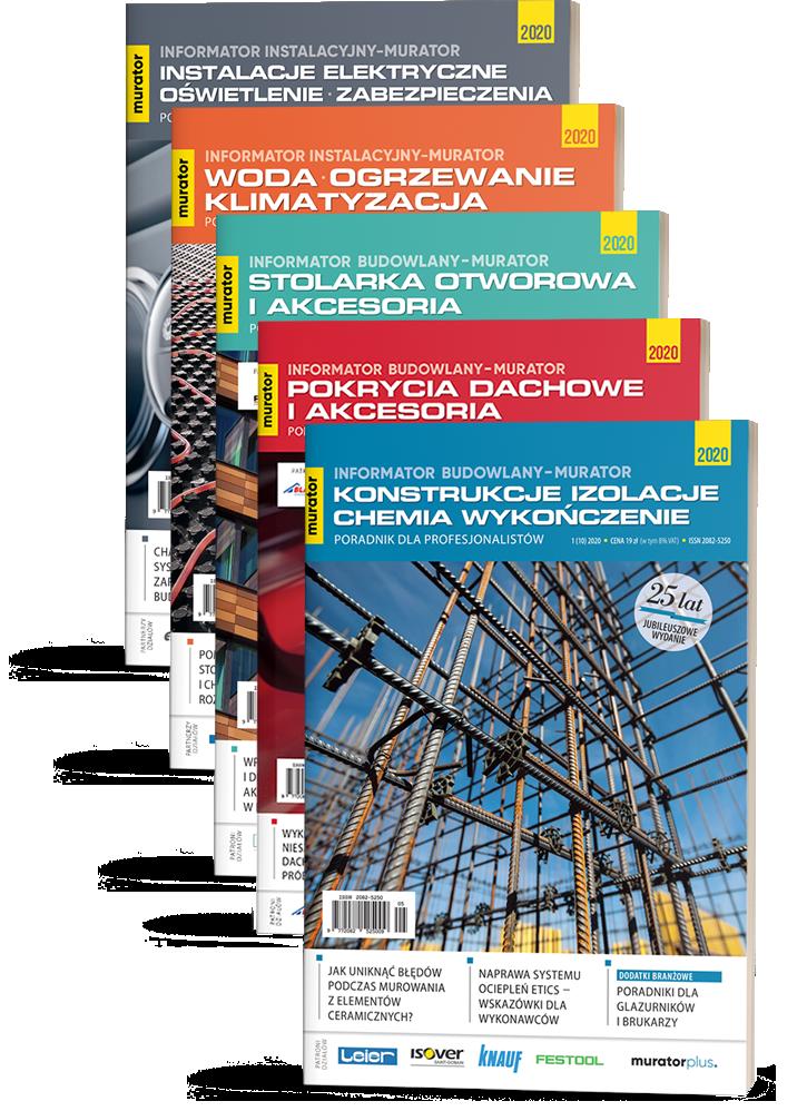 5 Tomów Informator Budowlany-murator 2020 + Informator Instalacyjny-murator 2020